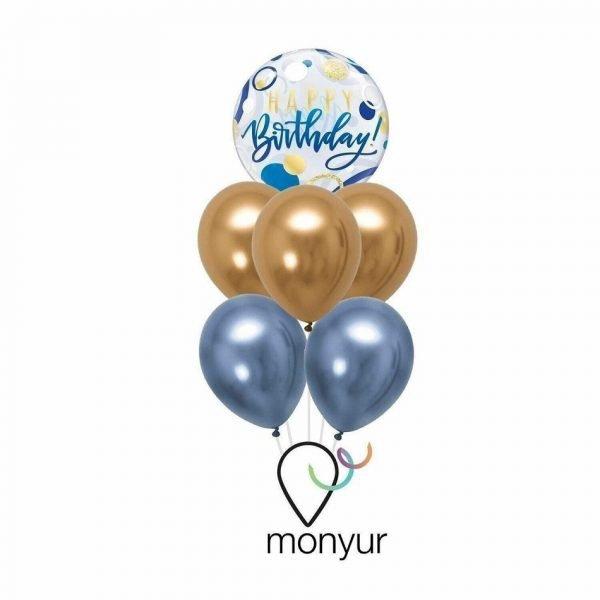 Globo feliz cumpleaños azul. Elegante bouquet con globo burbuja de cumpleaños en colores azul y dorado, inflado con helio.