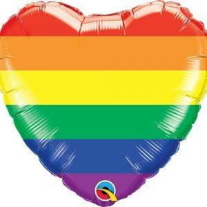 Globo Corazón Arcoíris Helio. Globo Rainbow Stripes Heart Helio.