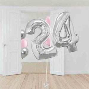 globos número plateado helio