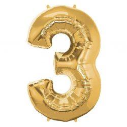 globo número dorado grande oro con helio tres 3