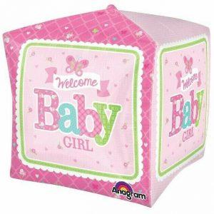 Globo rosa bebé cubo con helio