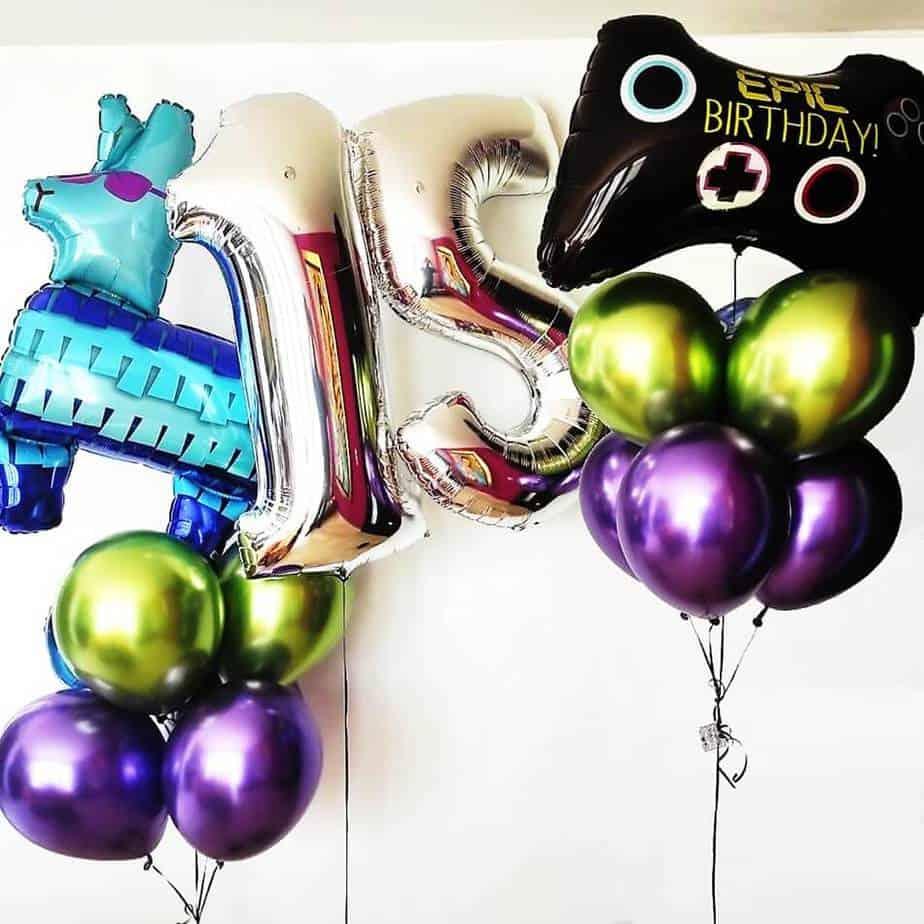 Globos con helio de cumpleaños gamer